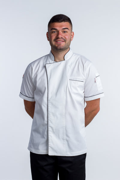 chef jacket white with black Trim and Coolvent Gazi