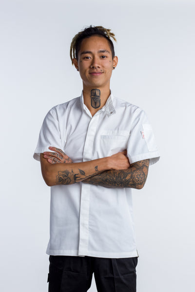 chef jacket oriental collar white