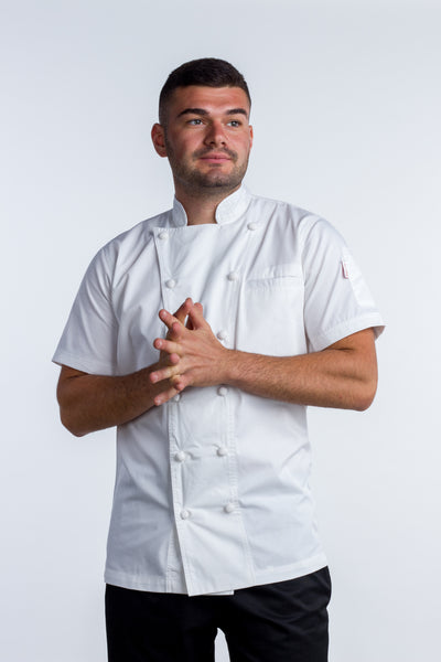 Chef jacket white with hand rolled cotton button Press