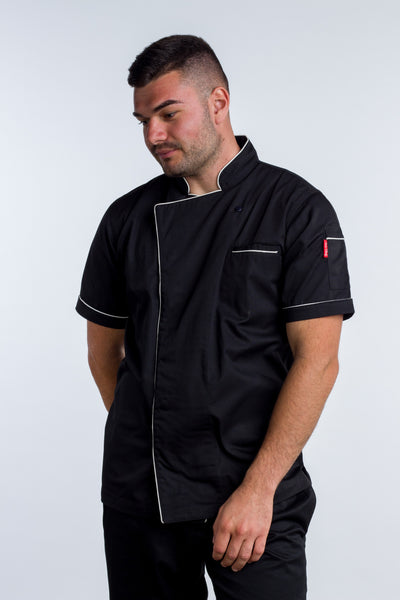 Chef jacket black with white trim and coolvent Bridge