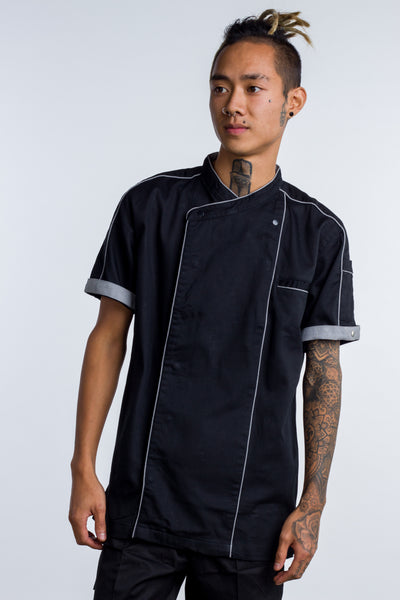 Chef jacket black with grey trim and coolvent Bryan