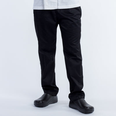 BLACK-DRAWSTRING CHEF PANTS