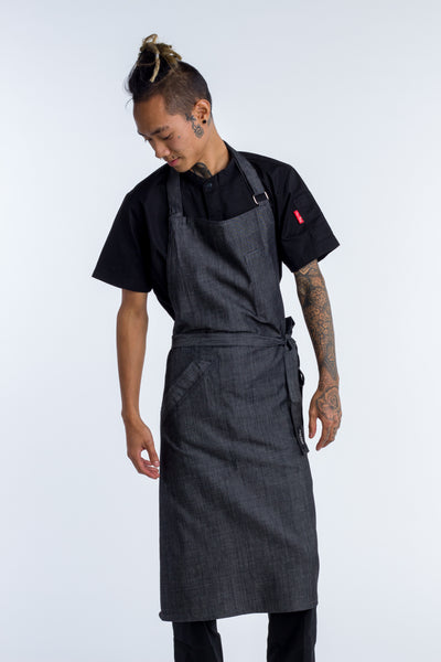 Denim Chef Apron charcoal grey