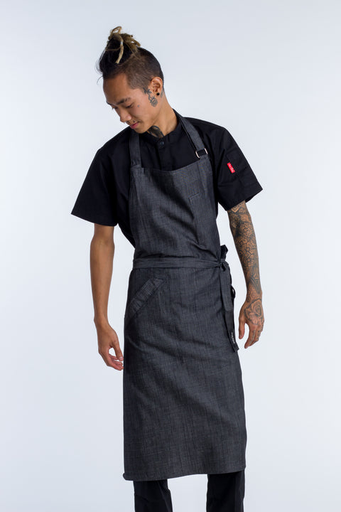 DENIM APRON BIB CHARCOAL GREY - TAI