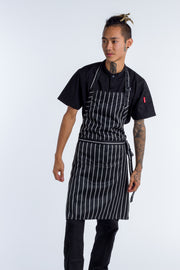 Bib Apron Black white stripe NO pocket - 2 SIZES