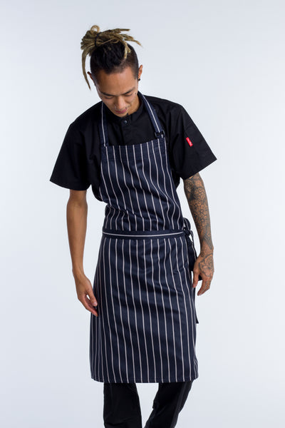 Bib Apron Blue white stripe NO pocket - 2 SIZES