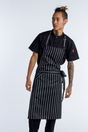 Bib Apron Black white stripe with pocket - 2 SIZES