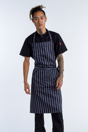 Bib Apron Blue white stripe with pocket - 2 SIZES