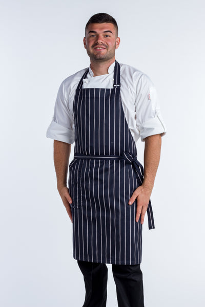 striped blue/white bib Chef Aprons medium size with pocket