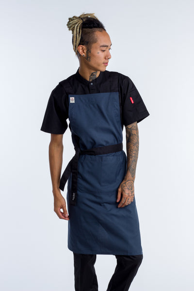 Crossover Chef apron byron Bluish grey with black straps