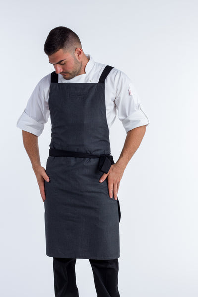 Crossover Chef apron byron charcoal grey with black straps
