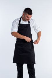Black bib apron WITH pocket - 2 sizes
