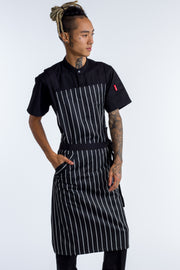 Byron Black white Stripes cross over with black straps bib Apron ONE SIZE