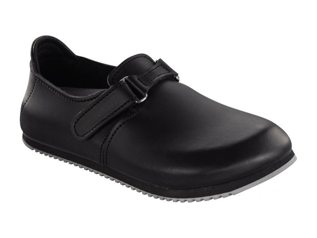 Linz Smooth Leather in Black (Classic Footbed - Supergrip Sole)