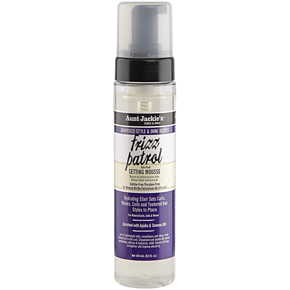Aunt Jackie's Frizz Patrol Anti Poof Twist and Curl Setting Mousse 8oz
