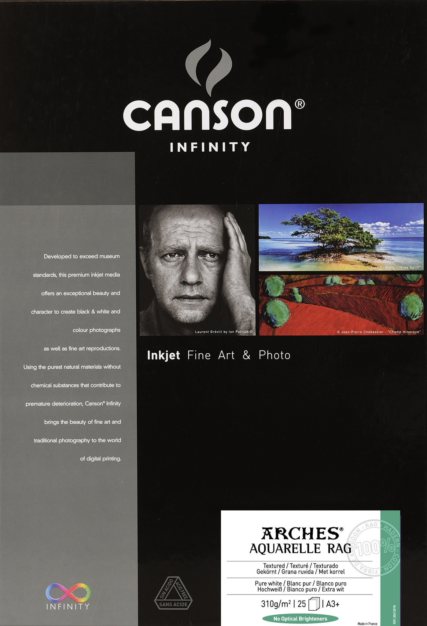 Canson Infinity Aquarelle Rag - 310gsm - A3+ (25 sheets)