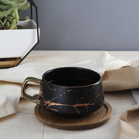 Elite Marbled Tea Cup & Saucer, Black