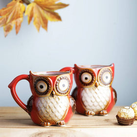 Set of 2 Hoot Hoot Jr. Owl Mug - Cinnamon Red