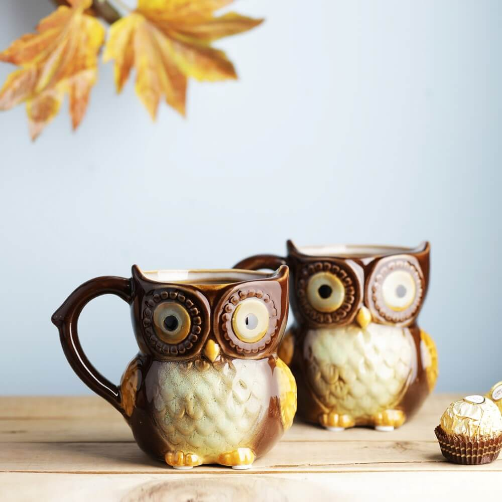 Set of 2 Hoot Hoot Jr. Owl Mug - Espresso Brown