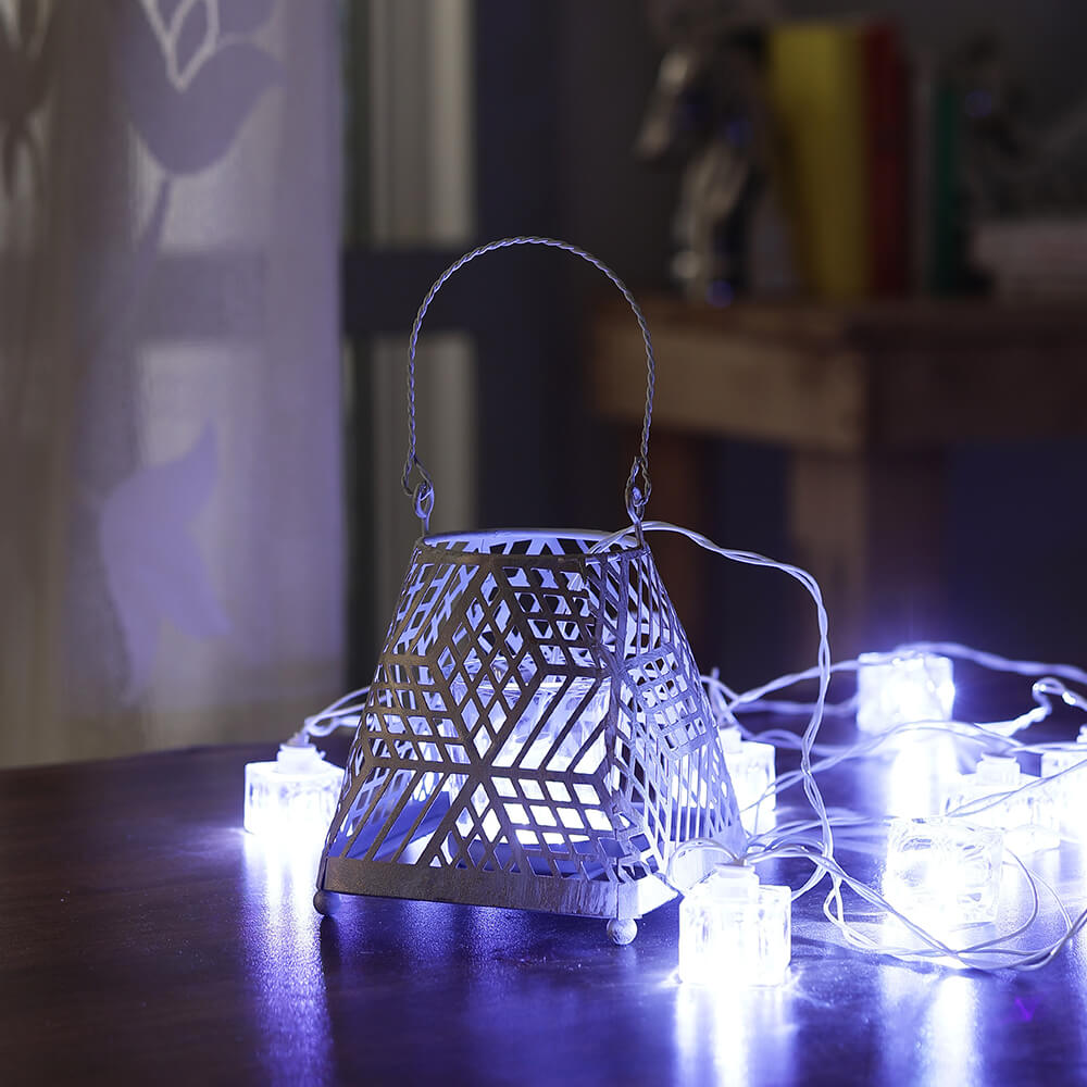Iron Lantern with String Light (Starlight)