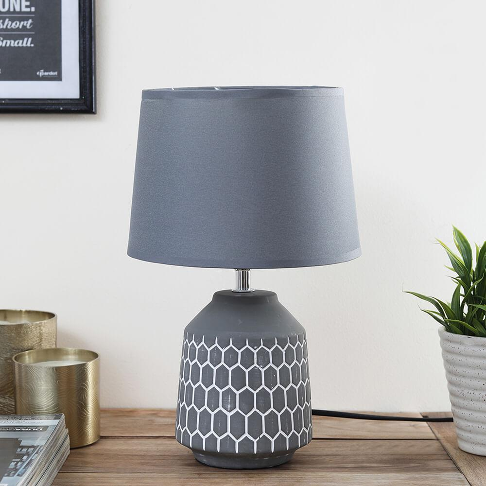 Grey Honeycomb Table Lamp