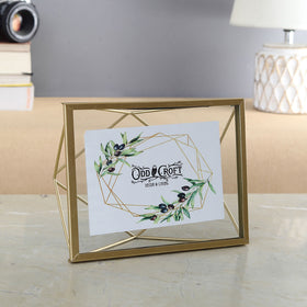 Geo Floating Photo Frame, Golden