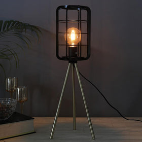 Metallic Cage Tripod Lamp