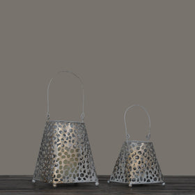 Set of 2 Dewdrop Iron Candle Lanterns