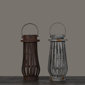 Rugged Iron Lanterns-Set of 2