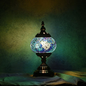 "Mini-Berkin Tukish Lamp (12"" Short / Aquatic Blue)"
