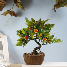 Gardenia Artificial Bonsai Tree- Orange