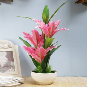 Pink Faux Tiger Lily Flower Pot