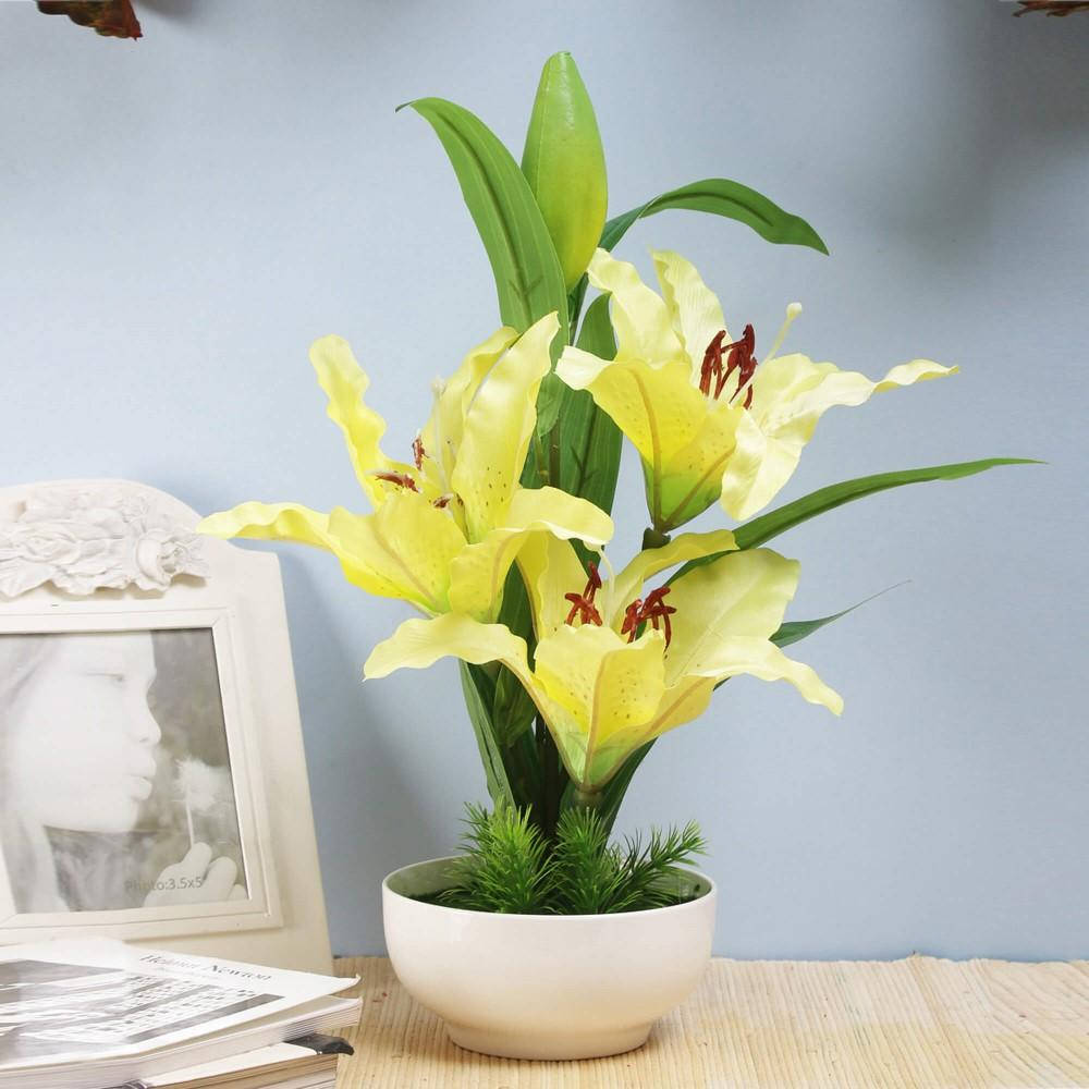 Yellow Faux Tiger Lily Flower Pot