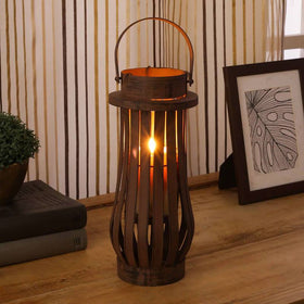 Rugged Iron Lantern - Brown
