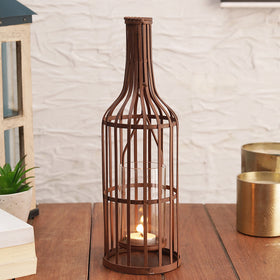 Enchanted Bottle Tea Light Holder - Brown