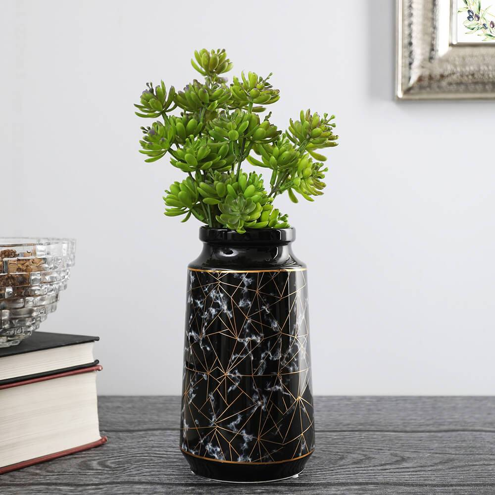 Black Marbled Vase