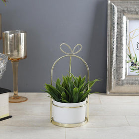 Bow Desk Planter Pot, Golden