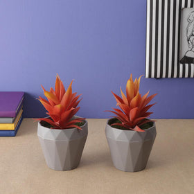Set of Artificial Aloe Vera potted plants, Orange