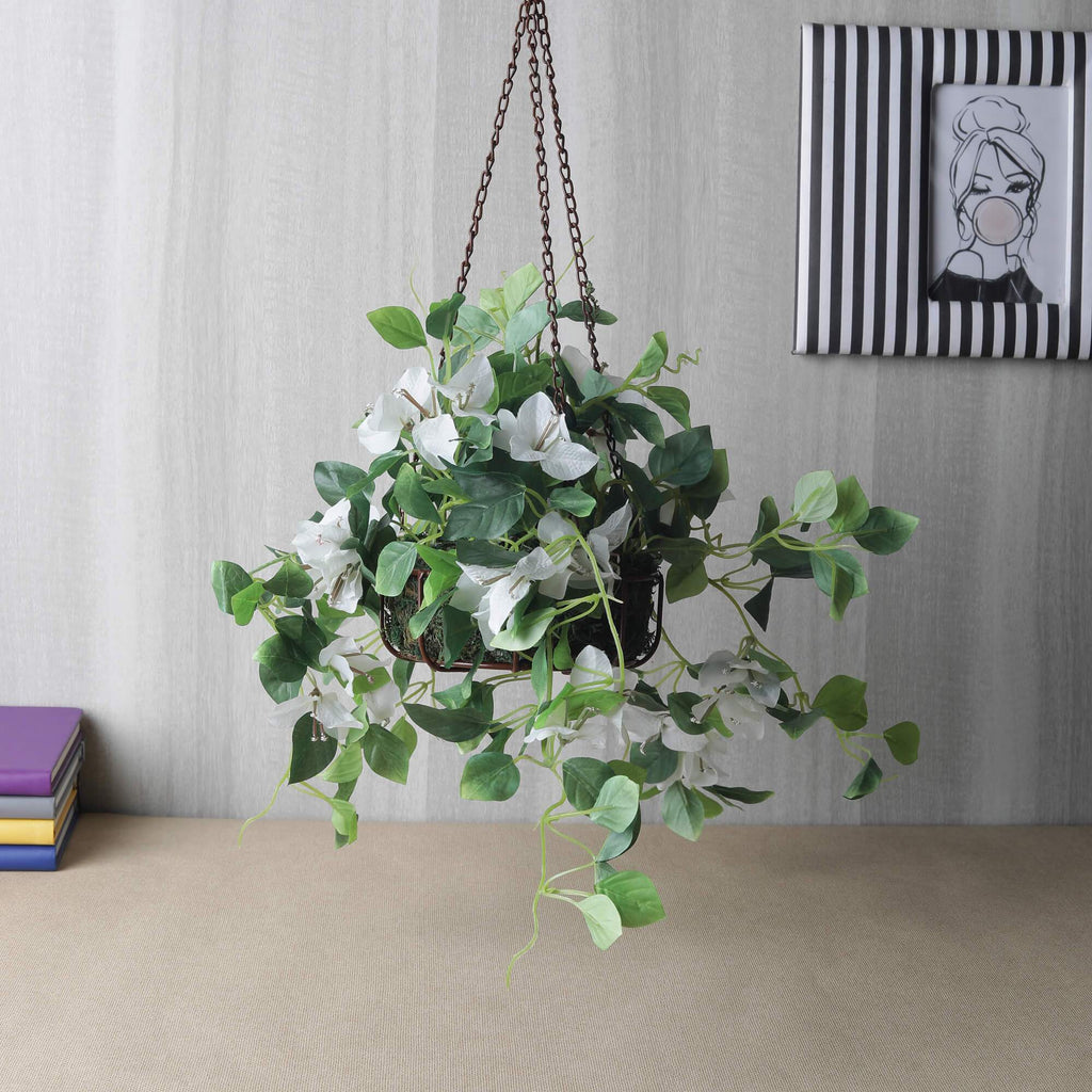 Artificial Bougainvillea Plant in Basket, White