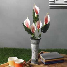 Artificial Calla Lily Flower Bunch, Cream Pink