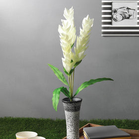 Tropical Artificial Ginger flower Stick, White