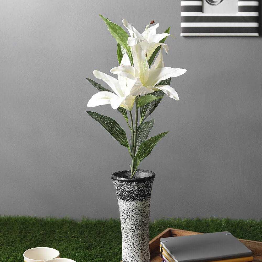 White Artificial Lily Flower Stick