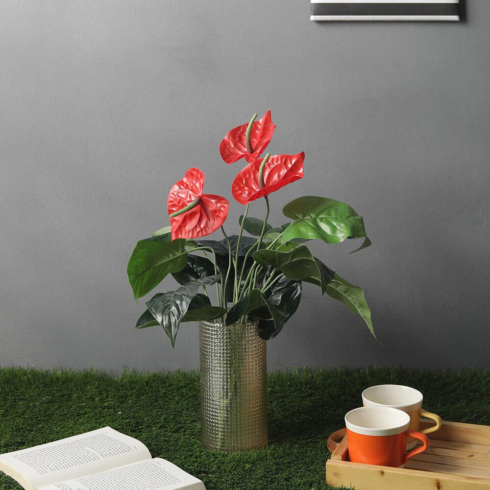 Artificial Red Anthurium Floor Plant (without pot)