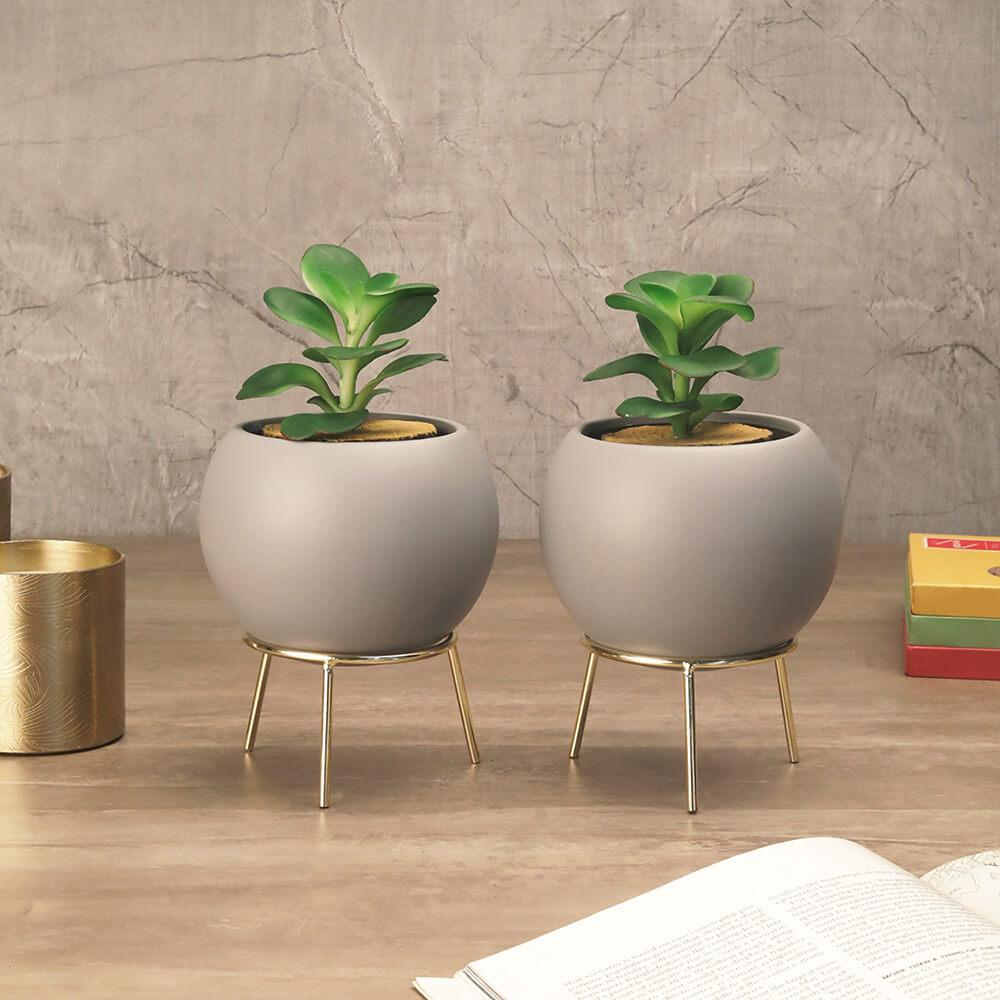 Set of Grey Cauldron Planters with Stand