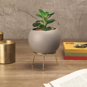 Grey Cauldron Planter with Stand