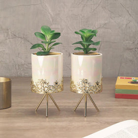 Set of Pearl-Glossed White Planters