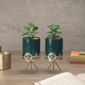 Set of Midnight Green Planters with Stand
