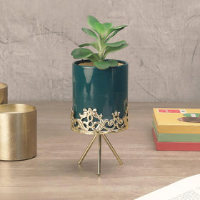 Midnight Green Planter with Stand