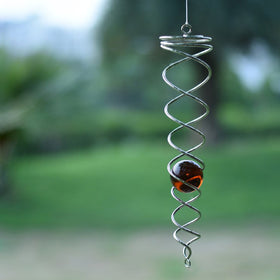 Twisted Orb Wind Spinner, Single (Amber-Orange)