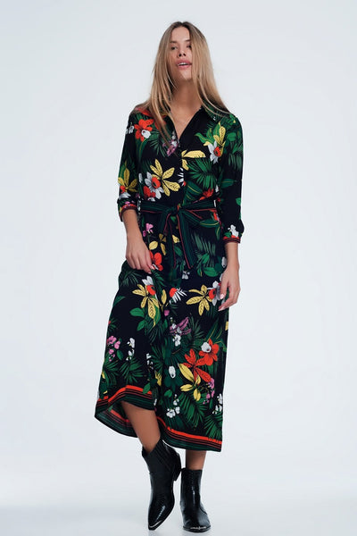 Bold Floral Shirt Maxi Dress